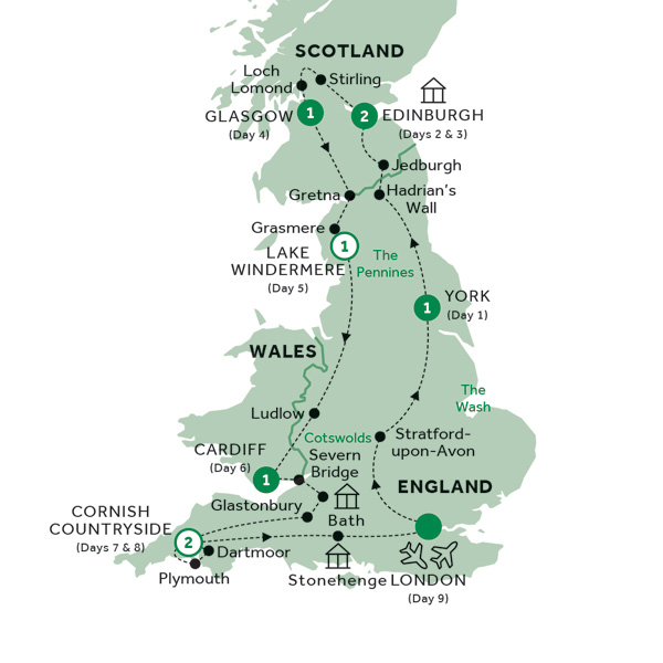 Itinerary map of Best of Britain (Summer 2019)