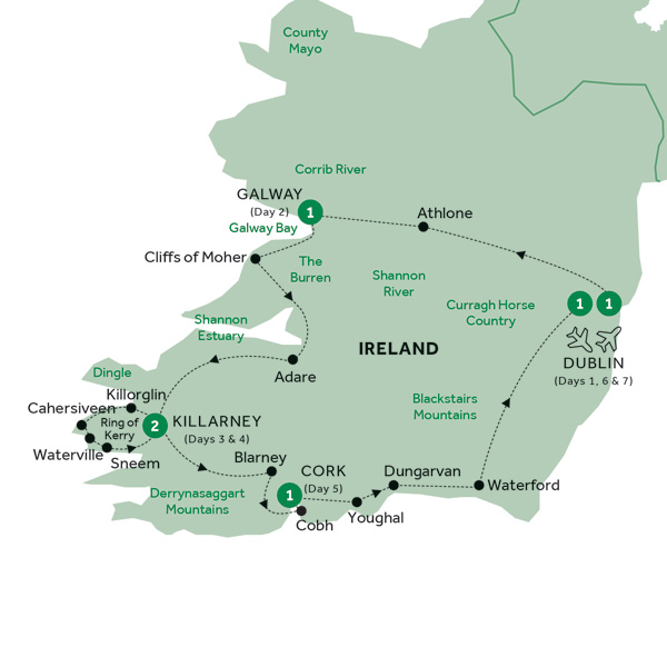 Map for Focus on Ireland (Summer 2019)