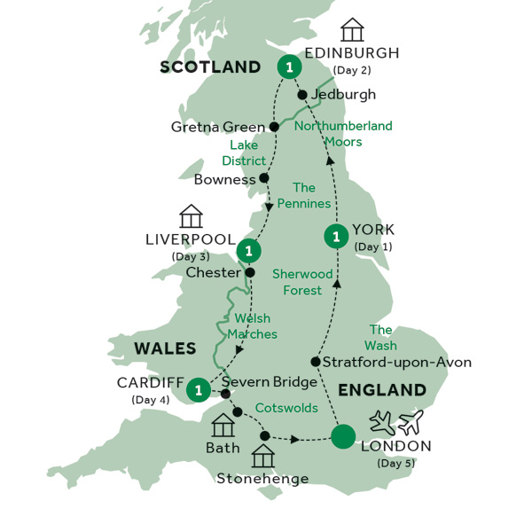 Itinerary map of Gems of Britain (Summer 2019)