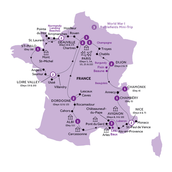 Itinerary map of French Heritage (Summer 2019)
