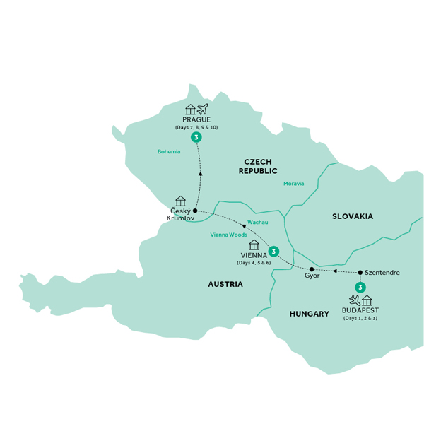 Itinerary map of Easy Pace Budapest Vienna and Prague (Summer 2018)