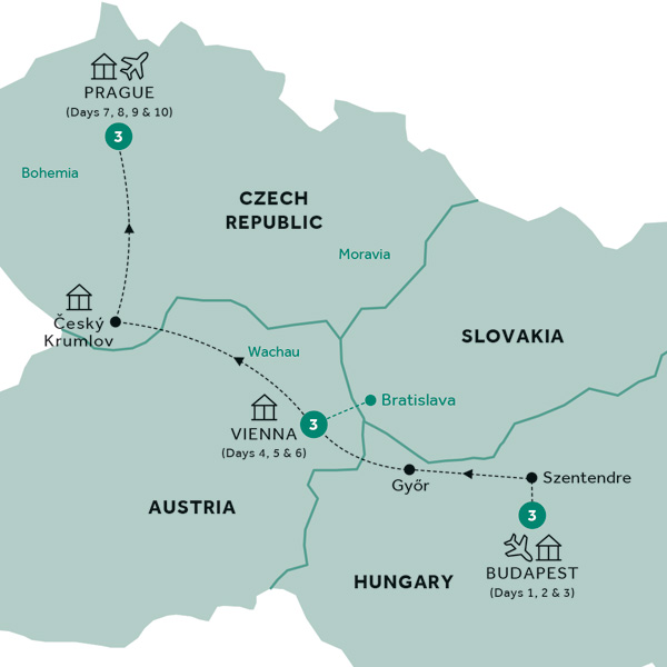 Itinerary map of Easy Pace Budapest, Vienna & Prague (Summer 2019)