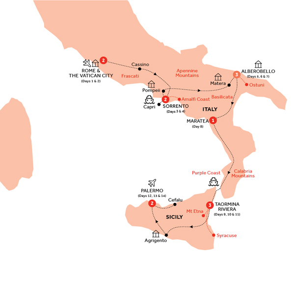 Itinerary map of Country Roads of Southern Italy and Sicily (Summer 2018)