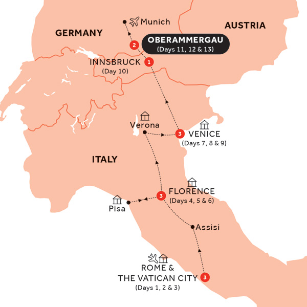 Itinerary map of Easy Pace Italy with Oberammergau (Preview 2020)