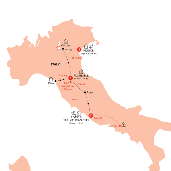 Itinerary map of Easy Pace Italy (Summer 2018)