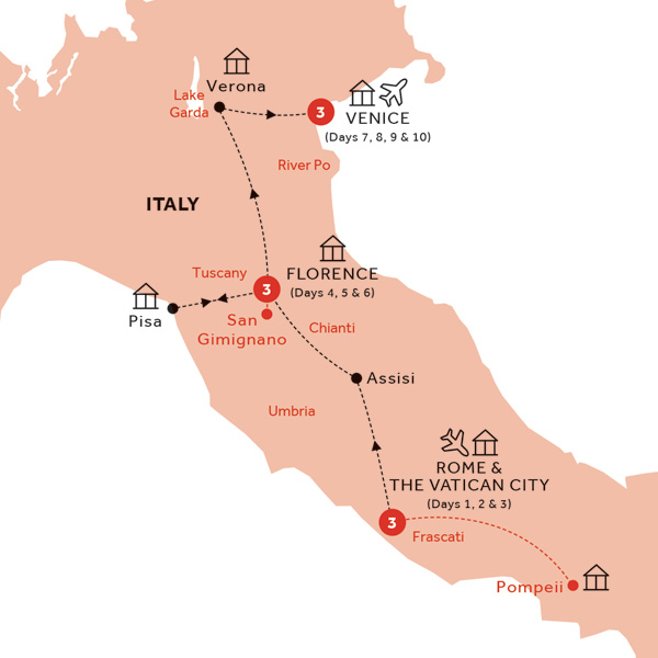 Itinerary map of Easy Pace Italy (Summer 2019)