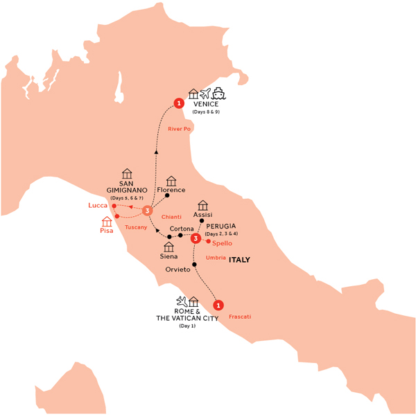 Itinerary map of Country Roads of Umbria and Tuscany (Summer 2018)