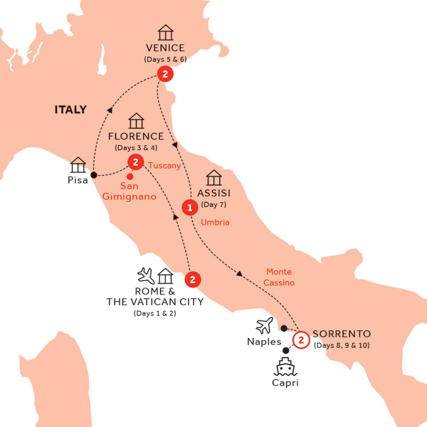 Itinerary map of Best of Italy end Naples (Summer 2019)