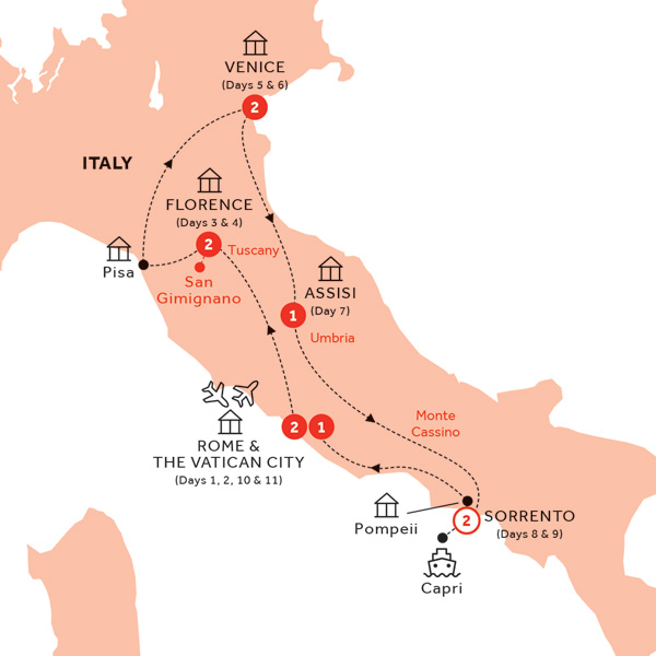 Itinerary map of Best of Italy end Rome (Summer 2019)