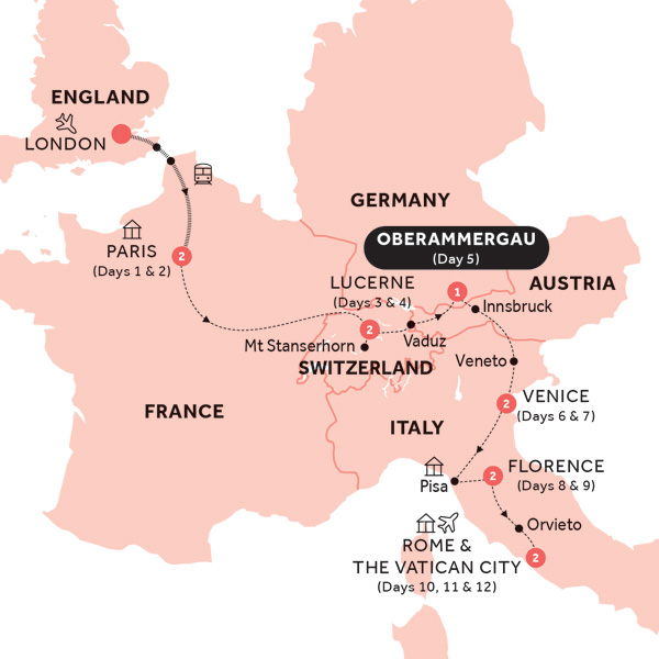 Itinerary map of Road to Rome with Oberammergau (Preview 2020)