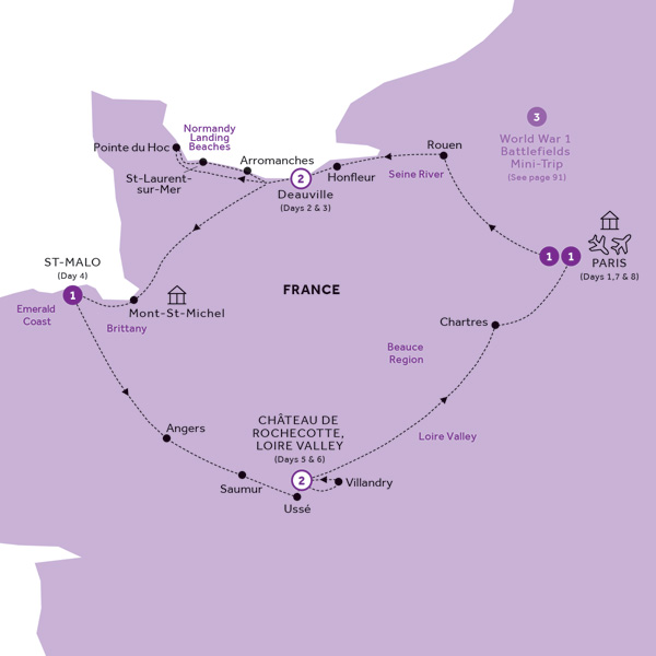 Itinerary map of Normandy, Brittany & the Loire Valley (Summer 2019)