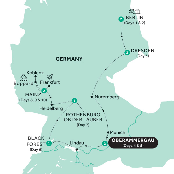 Itinerary map of Best of Germany with Oberammergau (Preview 2020)