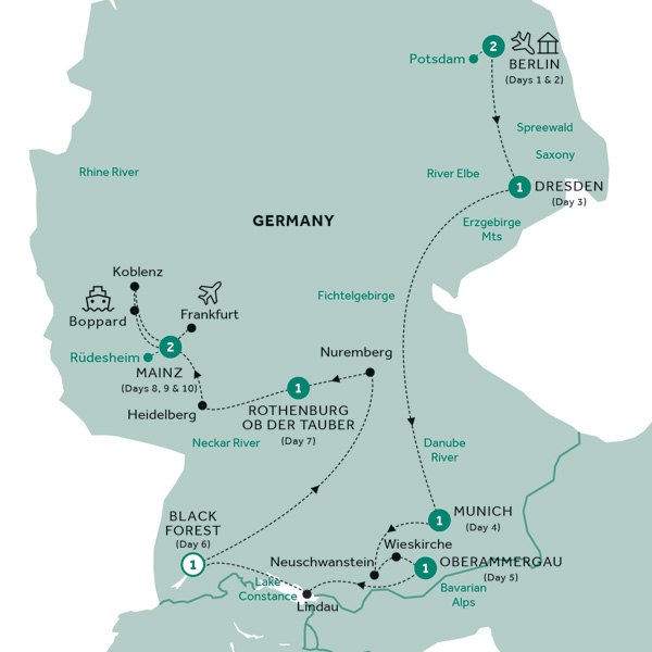 Itinerary map of Best of Germany (Summer 2019)