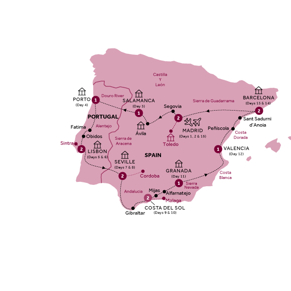 Itinerary map of Best of Spain and Portugal end Madrid (Summer 2018)