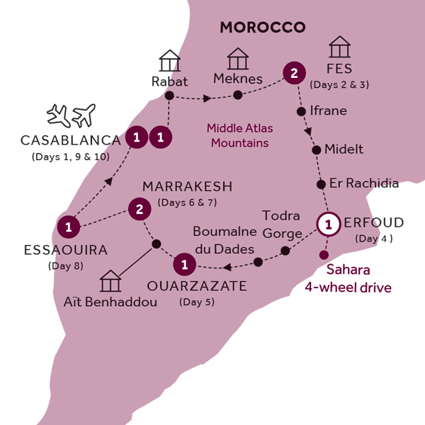 Itinerary map of Best of Morocco (Summer 2019)