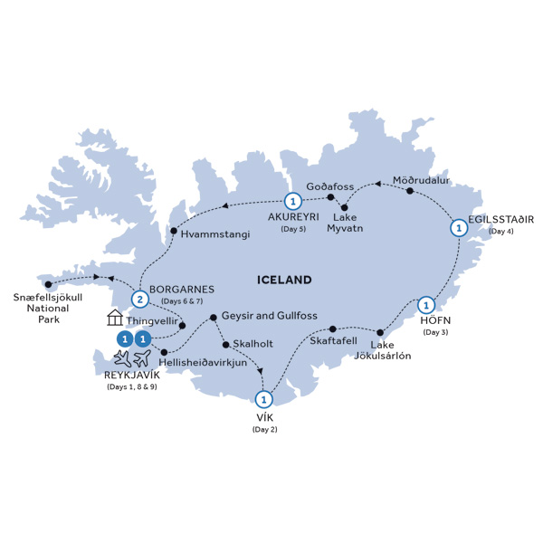 Itinerary map of Natural Wonders of Iceland (Summer 2019)