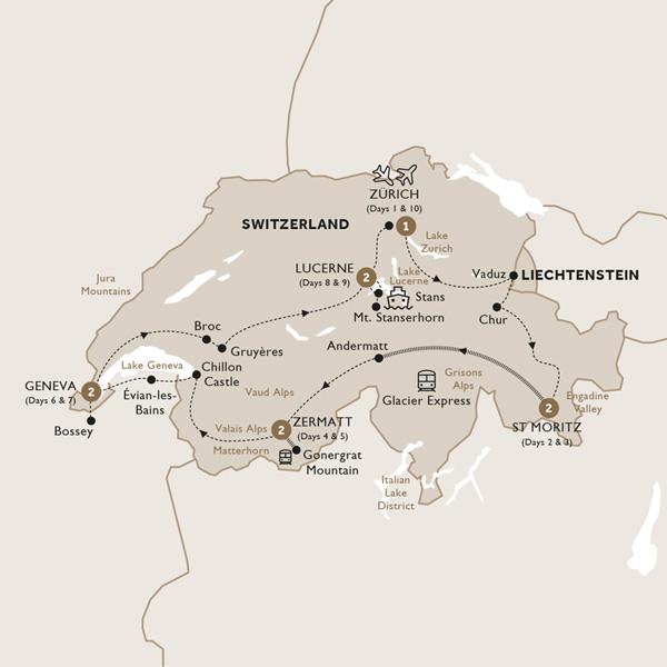 Itinerary map of Majestic Switzerland (Summer 2019)