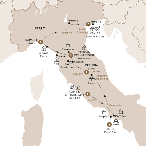Itinerary map of Ultimate Italy (Summer 2018)