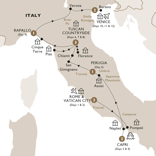 Itinerary map of Ultimate Italy (Summer 2019)