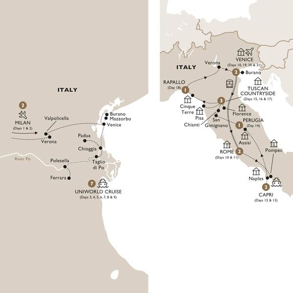 Itinerary map of La Serenissima (Summer 2019)