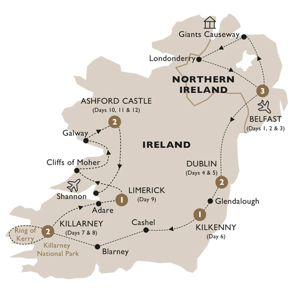 Itinerary map of Ultimate Ireland (Summer 2019)