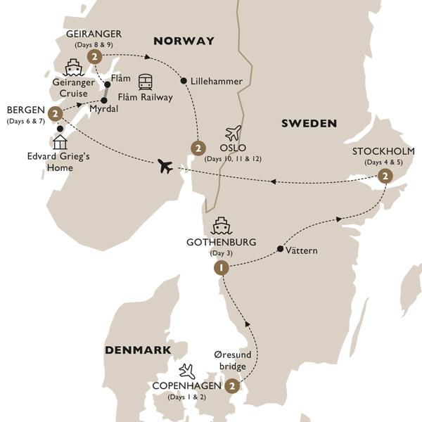 Itinerary map of Timeless Scandinavia (Summer 2019)