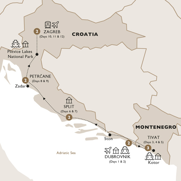 Itinerary map of Captivating Croatia and Montenegro (Summer 2019)