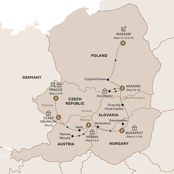 Itinerary map of Harmony of Central Europe (Summer 2018)