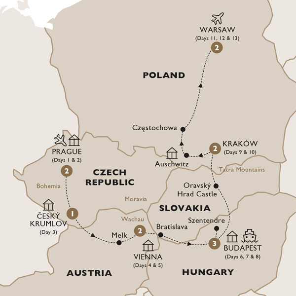 Itinerary map of Harmony of Central Europe (Summer 2019)