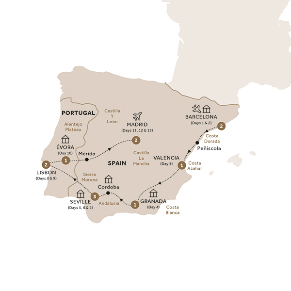 Itinerary map of Spain and Portugal in Style (Summer 2018)
