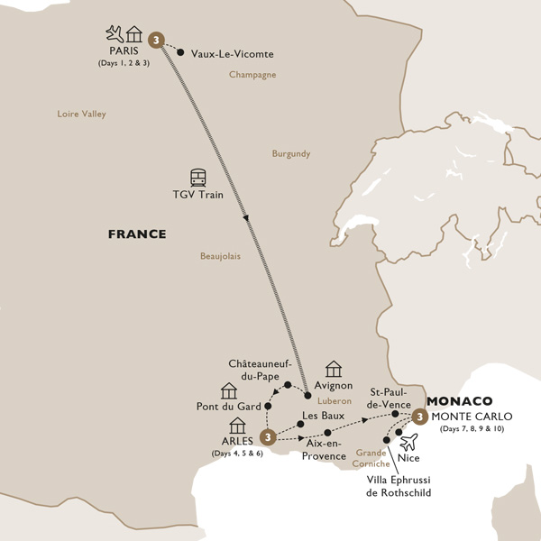 Itinerary map of French Vogue (Summer 2019)
