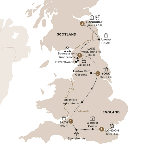 Itinerary map of British Royale (Summer 2018)