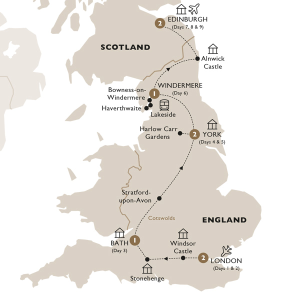 Itinerary map of British Royale (Summer 2019)