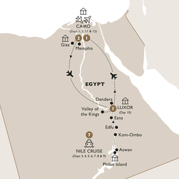 Itinerary map of Elegance of the Nile (Summer 2019)