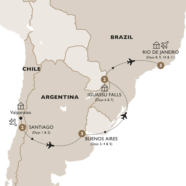 Itinerary map of Classic South America (Summer 2019)