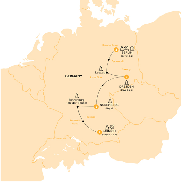 Itinerary map of Christmas Markets of Germany (Winter 2018-19)
