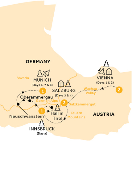 Itinerary map of Christmas Markets of Austria and Bavaria (Winter 2018-19)
