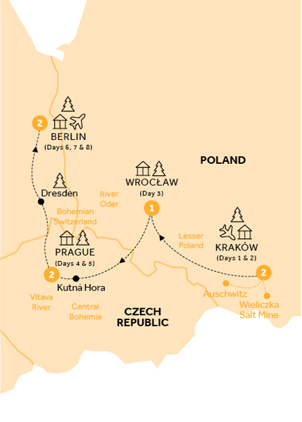 Itinerary map of Christmas Markets of Poland, Prague and Germany (Winter 2018-19)
