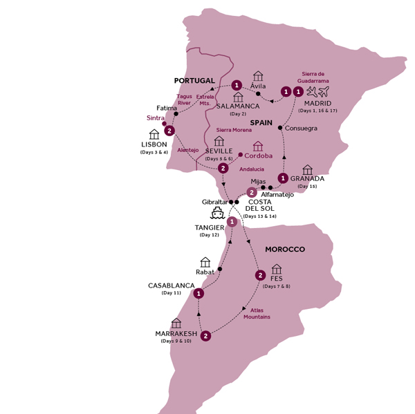 Itinerary map of Treasures of Spain, Portugal and Morocco (Winter 2018-19)
