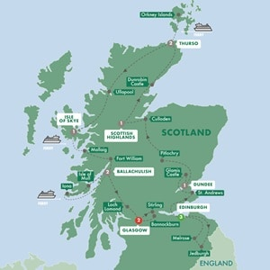 Itinerary map of Scotlands Highlands Islands and Cities Summer 2019