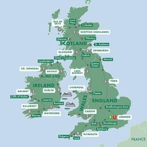 Itinerary map of Britain and Ireland Grandeur Summer 2019