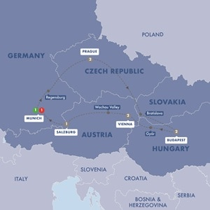 Itinerary map of Imperial Europe Summer 2019
