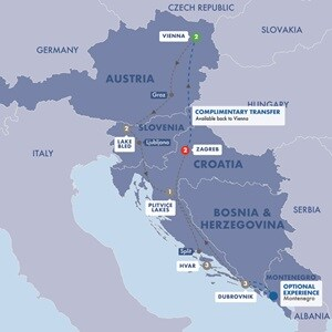 Itinerary map of Highlights of Austria Slovenia and Croatia Summer 2019
