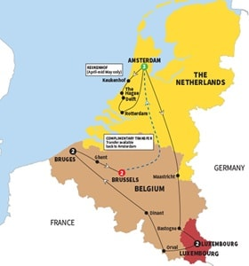 Itinerary map of Best of Holland Belgium and Luxembourg Summer 2018