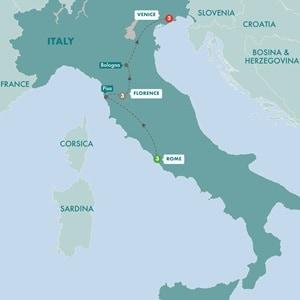Itinerary map of Gladiators Gondolas and Gold Summer 2019