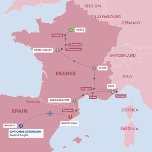 Itinerary map of Highlights of France and Barcelona Summer 2019