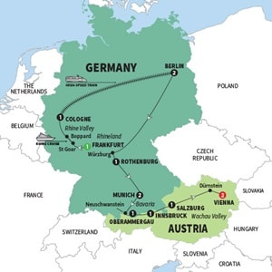 Itinerary map of Best of Germany and Austria Summer 2018
