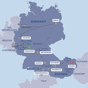 Itinerary map of Best of Germany and Austria Summer 2019