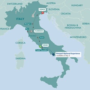 Itinerary map of Great Italian Cities Summer 2019