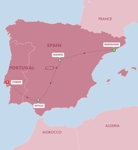 Itinerary map of Great Iberian Cities Summer 2019